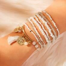 Tassel & Coin Decor Beaded Bracelet Set 9pcs