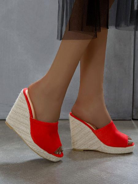 Milanoo Sandalias de cuña para mujer Zapatillas de cuña elegantes de micro gamuza superior