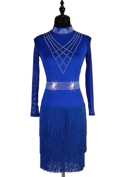 Milanoo Latin Dance Costumes Royal Blue Bead Fring Long Sleeve Dress Women Dancing Wears Outfit Halloween