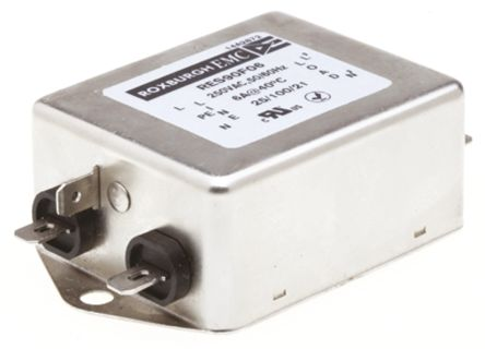Roxburgh EMC , RES90 6A 250 V ac DC ? 60Hz, Chassis Mount RFI Filter, Fast-On, Single Phase