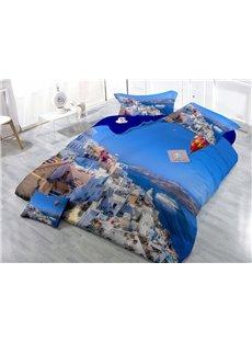 Cozy Coastal City Wear-resistant Breathable High Quality 60s Cotton 4-Piece 3D Bedding Sets