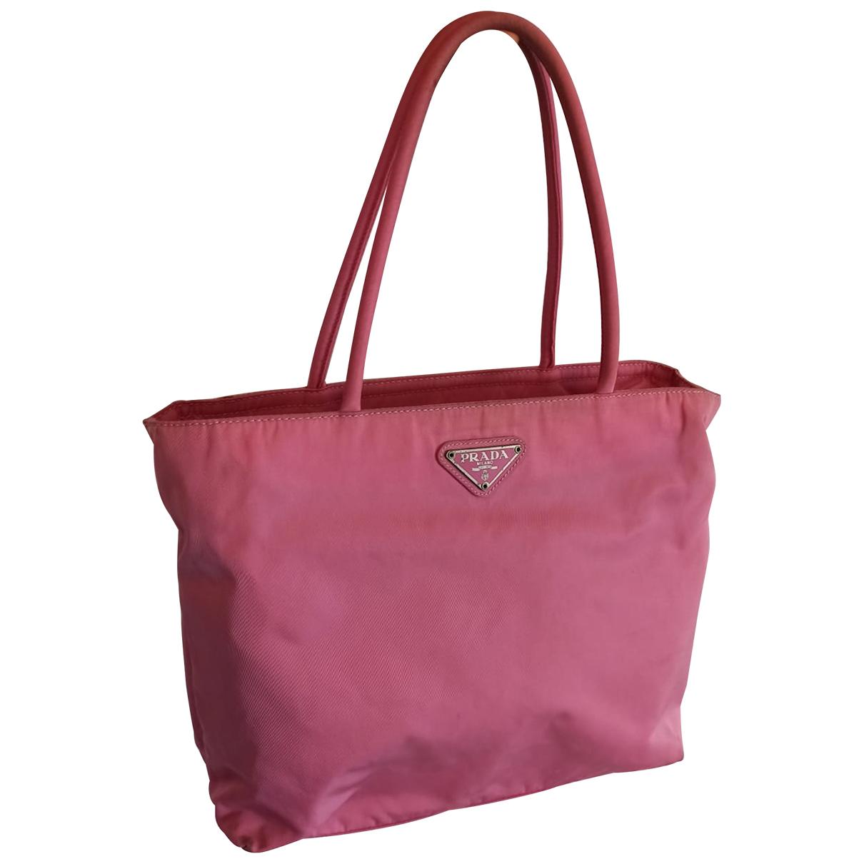 Prada Tessuto city Handtasche in  Rosa Leinen