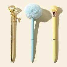3pcs Pom Pom Ballpoint Pen Set