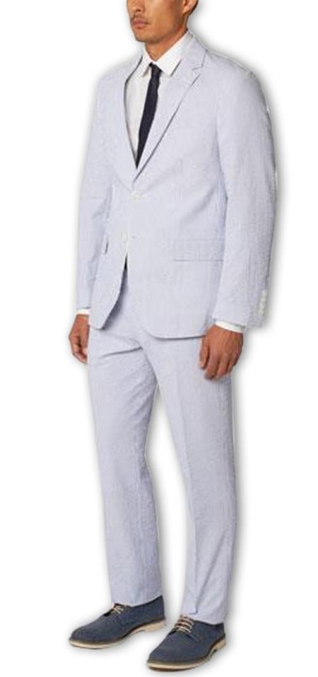 Men's  Notch Lapel Seersucker Cotton Double Vent Two Piece Blue Suit