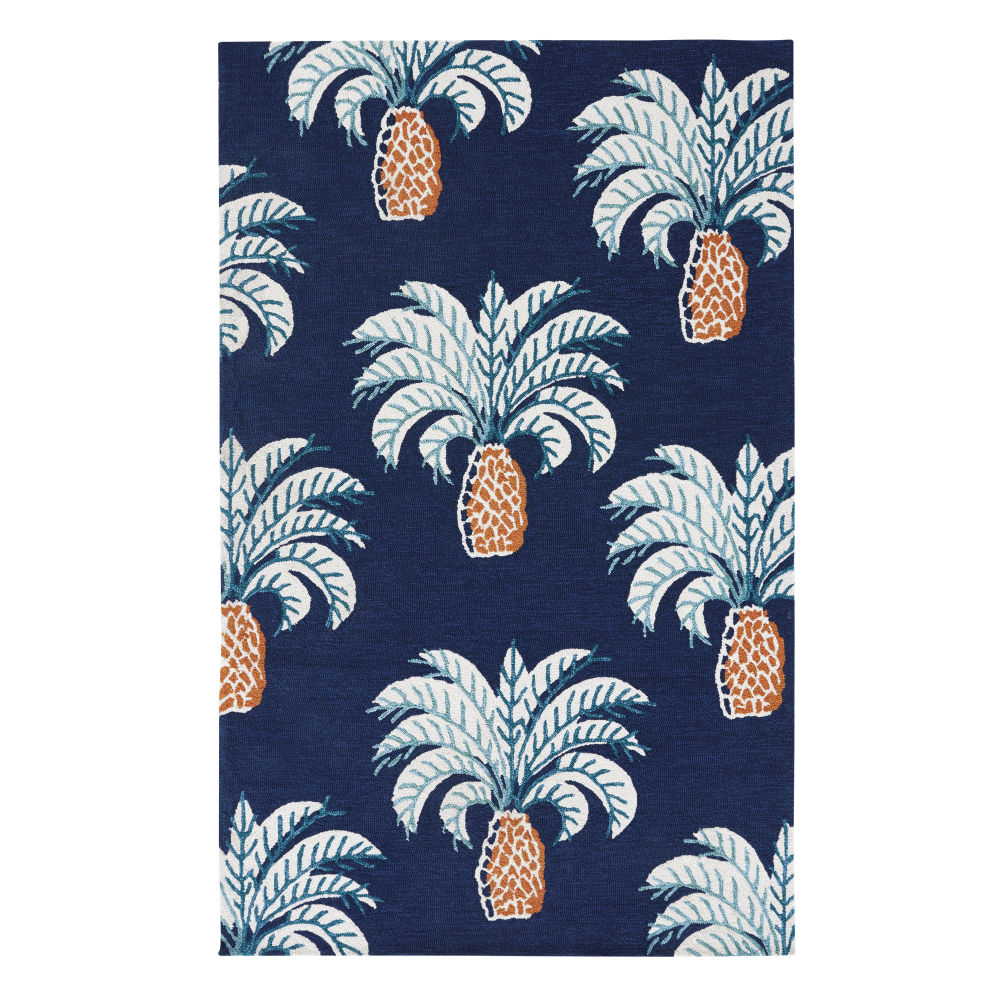 Outdoor-Teppich aus Polypropylen, nachtblau und bedruckt mit Palmenmotiv 155x230