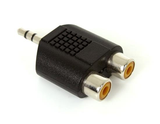 Stereo 3.5mm Male To Two RCA Female Adapter - Black