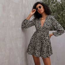 Plunging Neck Allover Print A-Line Dress
