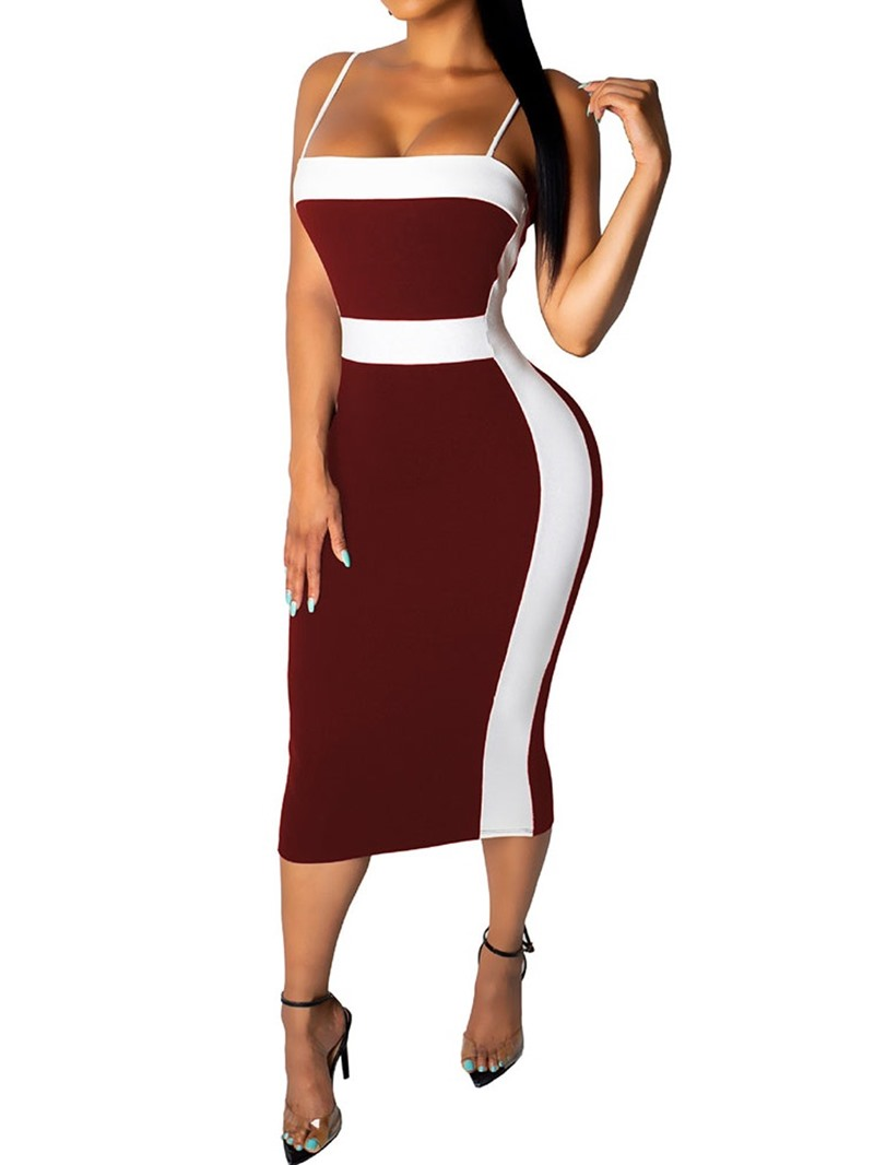 Ericdress Sleeveless Backless Mid-Calf Spaghetti Strap Color Block Dress