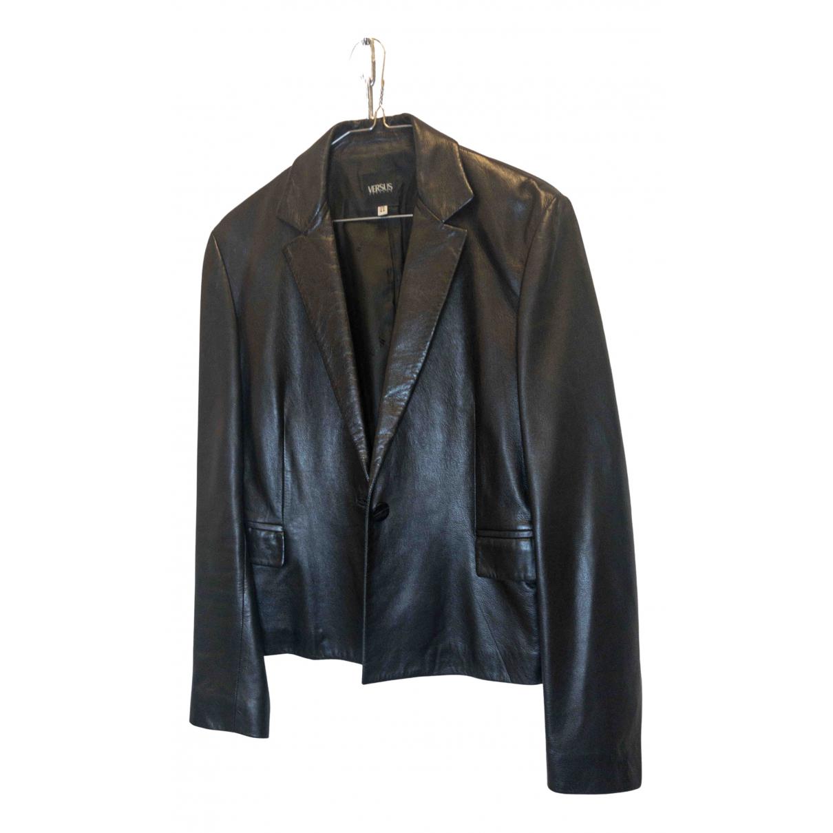 Versus \N Black Leather jacket for Women 44 IT