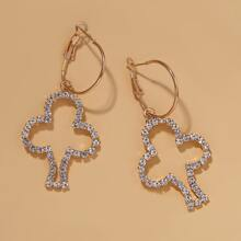 Rhinestone Decor Tree Charm Drop Earrings