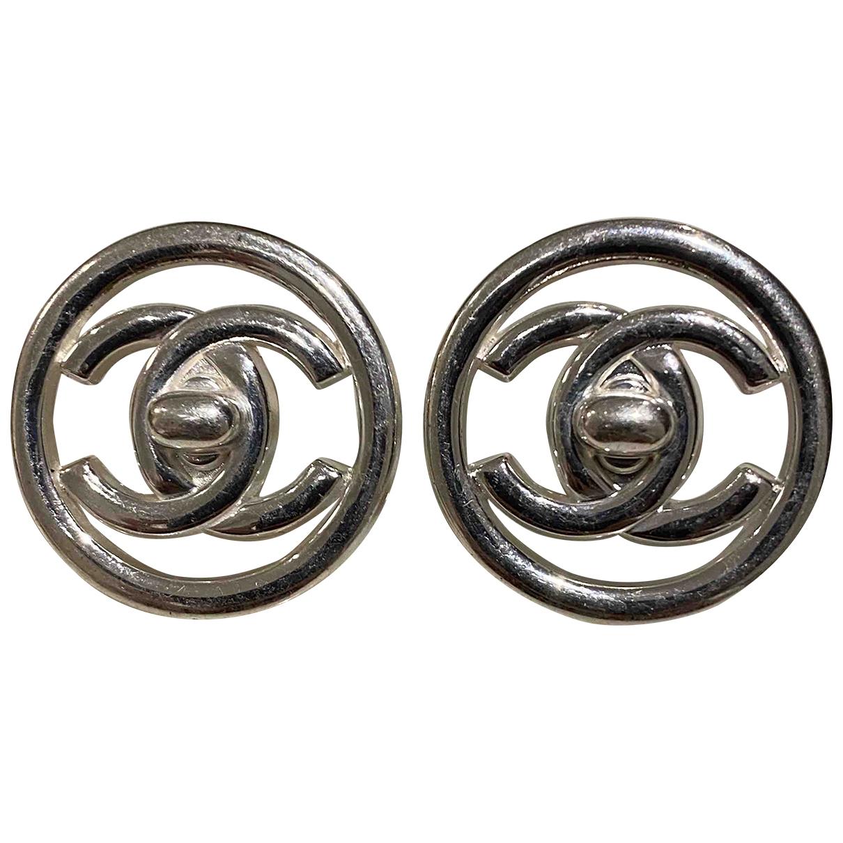 Chanel - Boucles doreilles CC pour femme en metal - argente