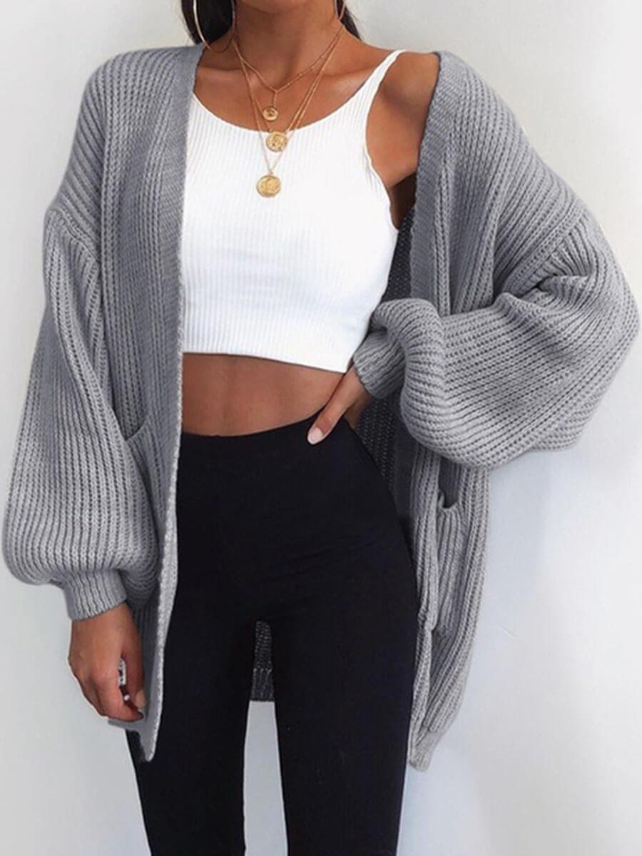 LW Lovely Casual Pocket Design Loose Grey Cardigan