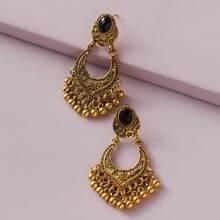 1pair Tribal Textured Tassel Drop Earrings