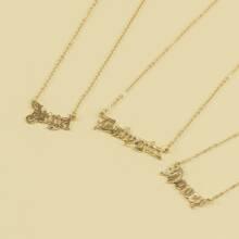 3pcs Gold Letter Charm Necklace