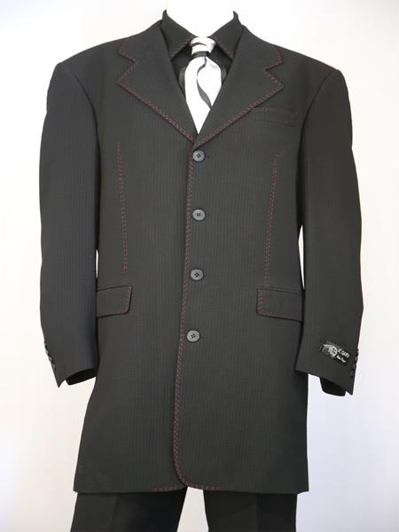 Mens Designer Wool Stitched Black 3pc Zoot Suit
