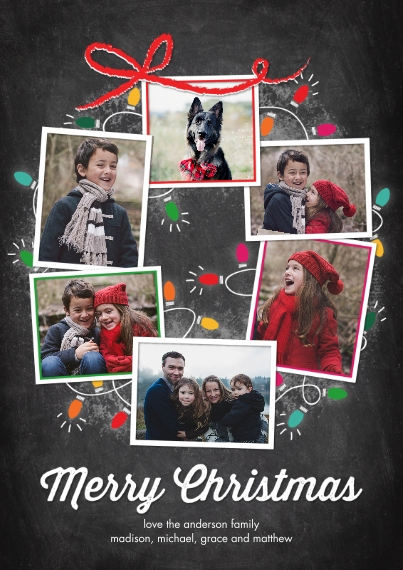 Christmas Photo Cards 5x7 Cards, Premium Cardstock 120lb with Rounded Corners, Card & Stationery -Christmas Lights Snapshots Wreath by Tumbalina
