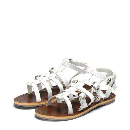 Yoins White Strappy Buckle Design Flat Sandals