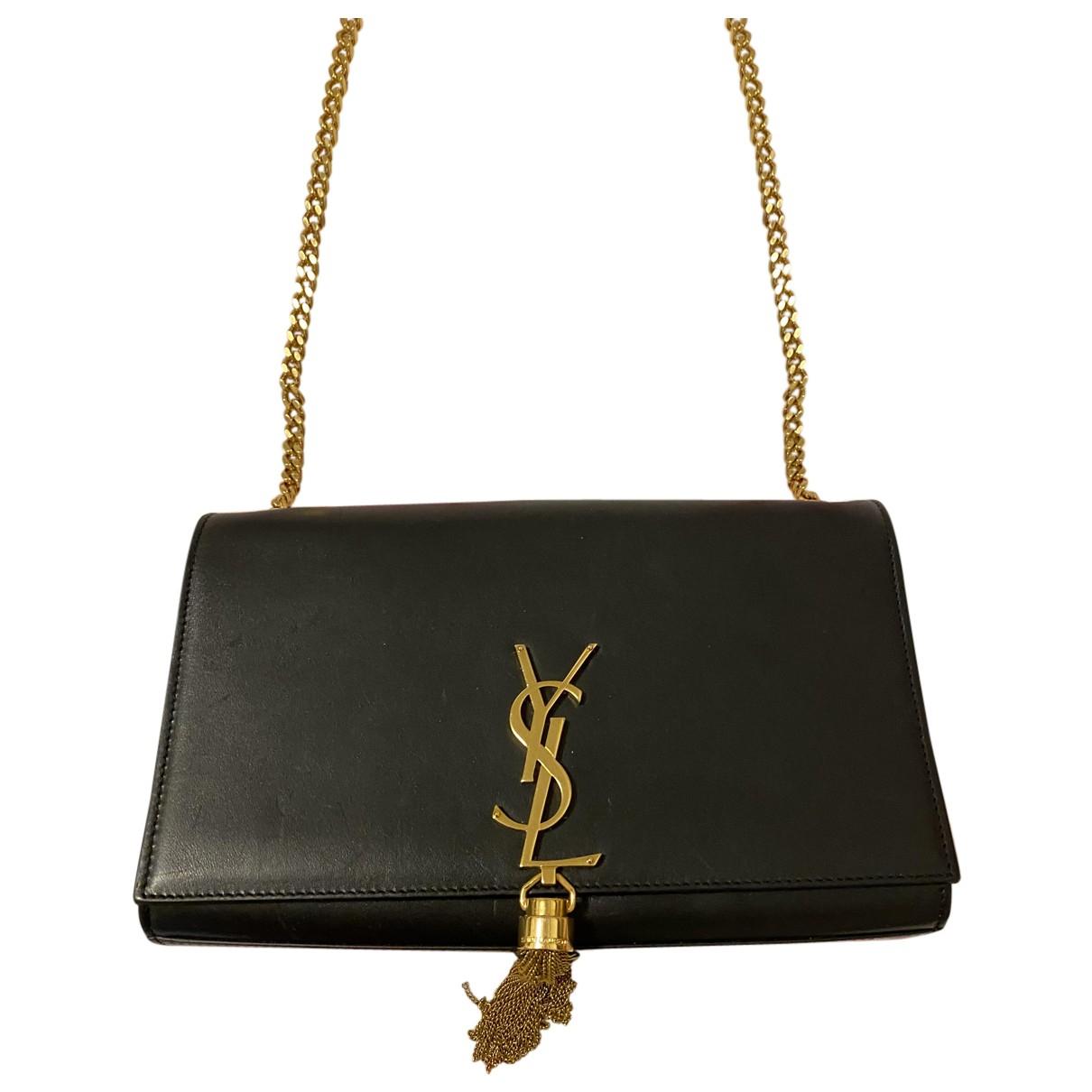 Saint Laurent - Pochette Pompom Kate pour femme en cuir - noir