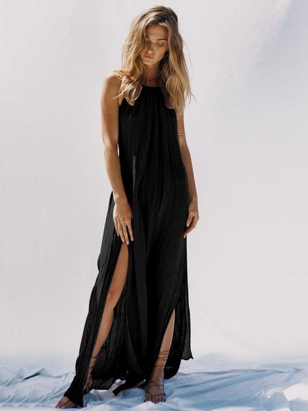 Milanoo Black Maxi Dress Split Sleeveless Backless Long Summer Dress