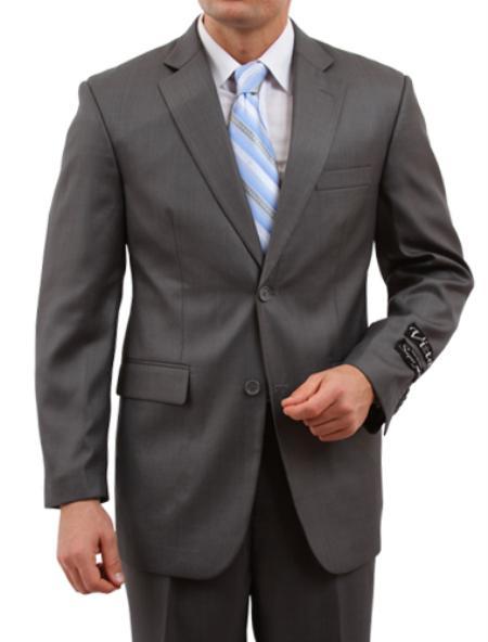 2 Button Black  Front Closure Suit Mens Cheap