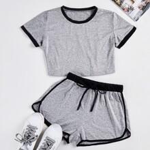 T-Shirt mit Kontrast Bindung & Track Shorts