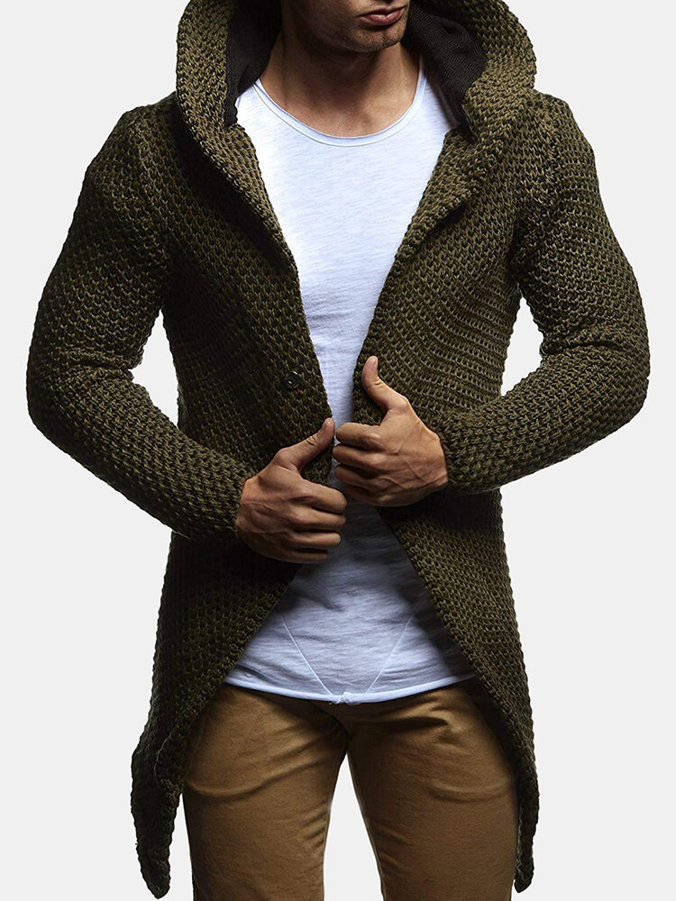 Mens Casual Solid Color Hooded Down Mid Long Cardigans