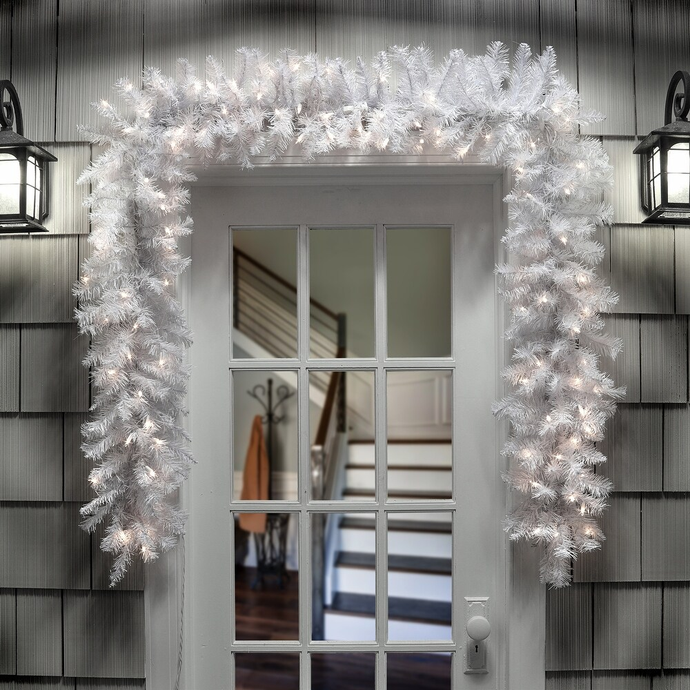 Pre-lit White Pine Garland 9 X 12,100 Clear Lights - White Green - 9L x 12W (Artificial Garland - 9 Foot)