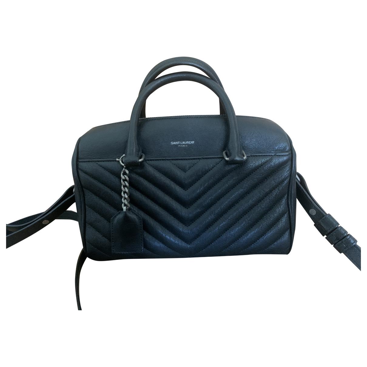 Saint Laurent Duffle Handtasche in  Schwarz Veloursleder