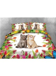 Innocent Cats and Colorful Flower Printing Cotton 4-Piece 3D Bedding Sets/Duvet Covers