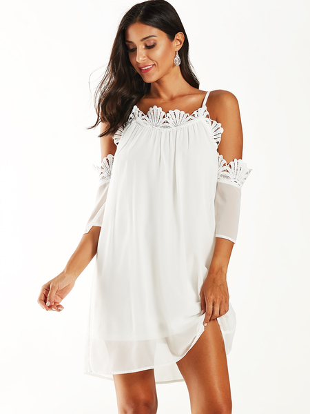 YOINS White Crochet Lace Cold Shoulder Half Sleeves Dress