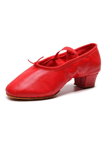 Milanoo Women Ballet Dance Shoes Red Closed Toe Dance Shoes