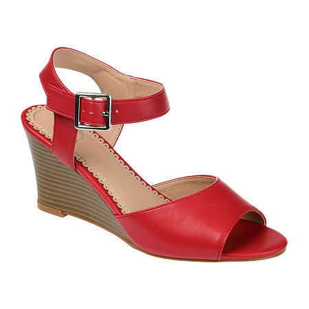Journee Collection Womens Ricci Pumps Wedge Heel, 7 1/2 Medium, Red