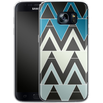 Samsung Galaxy S7 Silikon Handyhuelle - Blue Triangles von caseable Designs