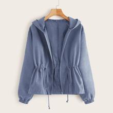 Blau  Ziehbaendchen Einfarbig Laessig Jacken