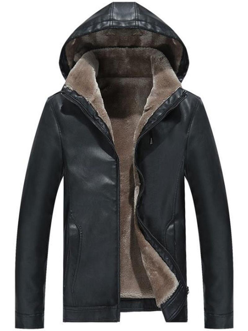 Ericdress Standard Hooded Plain Zipper Men's Leather Jacket