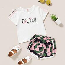 Toddler Girls Slogan Graphic Tee & Camo Track Shorts