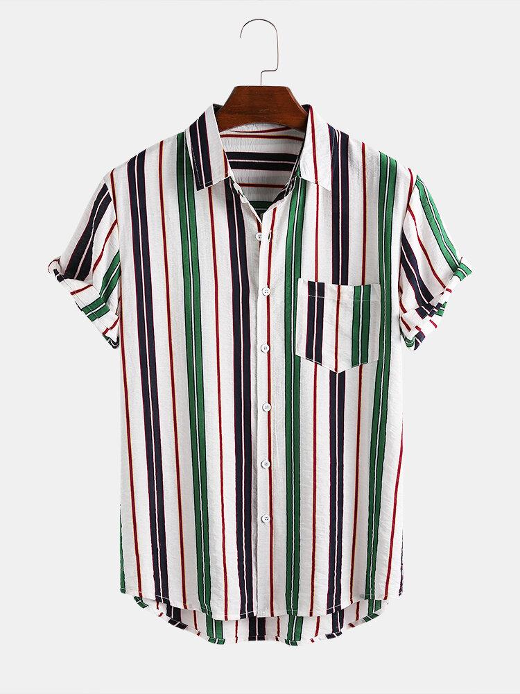 Mens Sample Striped Casual Lapel Collar Short Sleeve Shirts
