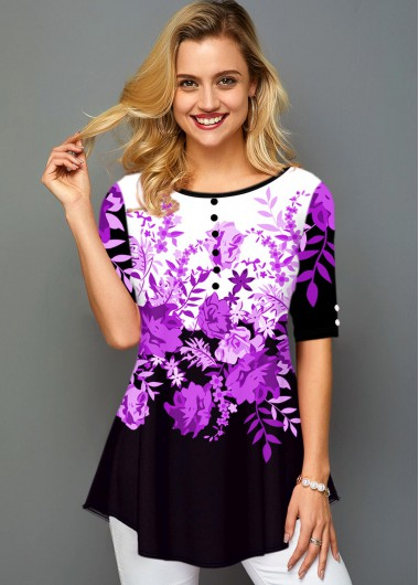 Round Neck Button Detail Floral Print T Shirt - S
