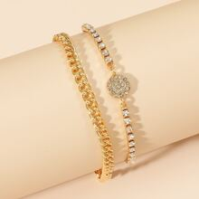 2pcs Rhinestone Decor Chain Anklet
