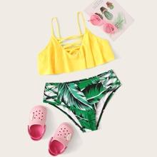 Maedchen Bikini Badekleidung mit tropischem Muster, Kreuzgurt und Schosschen