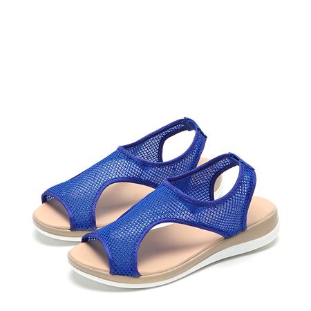 Yoins Blue Mesh Hollow Design Flat Sandals