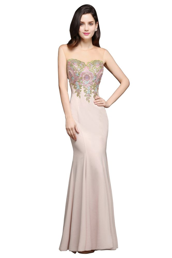 ALLISON | Mermaid Floor Length Pearl Pink Evening Dresses with Appliques