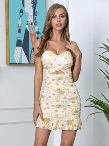 Double Crazy Cross Wrap Cutout Front Ruched Daisy Flower Dress