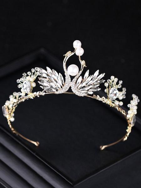 Milanoo Tiara de la boda corona cisne abalorios Rhinestone perla princesa nupcial accesorios para el cabello