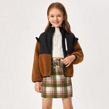Girls Zip Up Ruffle Trim Teddy Jacket