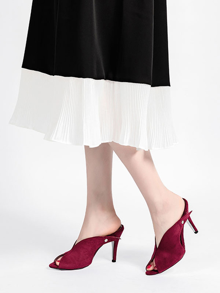 Milanoo Women\'s V-cut Sandals Peep Toe Backless Stiletto Heel Shoes