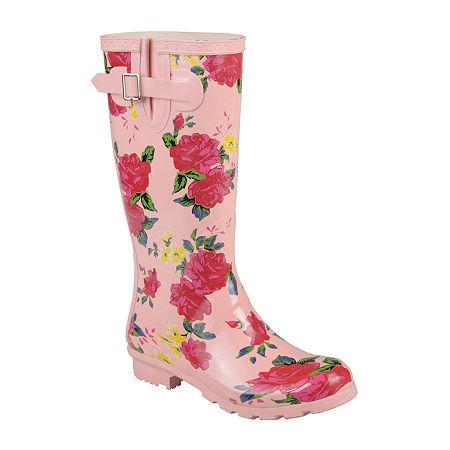 Journee Collection Womens Mist Rain Boots Water Resistant Block Heel, 9 Medium, Pink