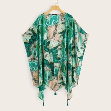Kimono con diseño de fleco bajo asimetrico tropical