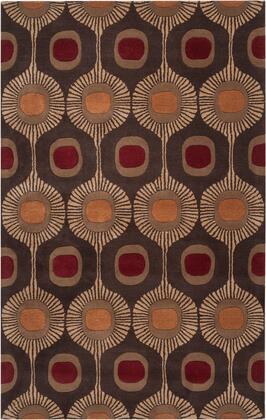 Forum FM-7170 5' x 8' Rectangle Modern Rug in Dark Brown  Camel  Burnt Orange