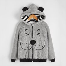 Boys Ear Detail Cartoon Embroidery Teddy Jacket